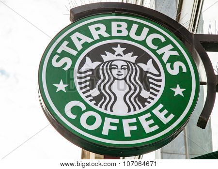 DUSSELDORF, GERMANY - NOVEMBER, 2015: Starbucks storefront sign