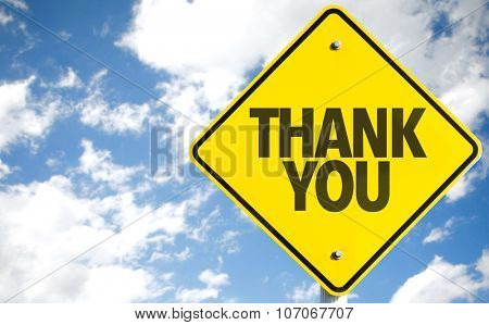 Thank You sign with sky background