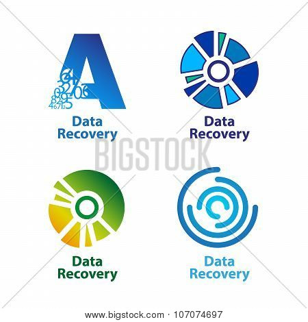 Set of isolated blue and green data recovery company logos on white background