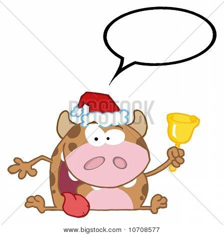 Happy Calf Character Ringing A Bell And Speech Bubble poster