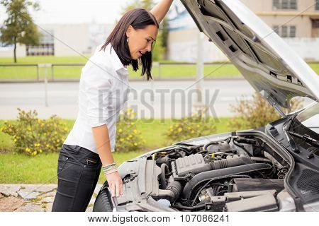 Woman looking at broken cars motor