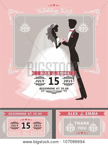 Wedding invitation set.Flat bride and groom,chandelier,frame