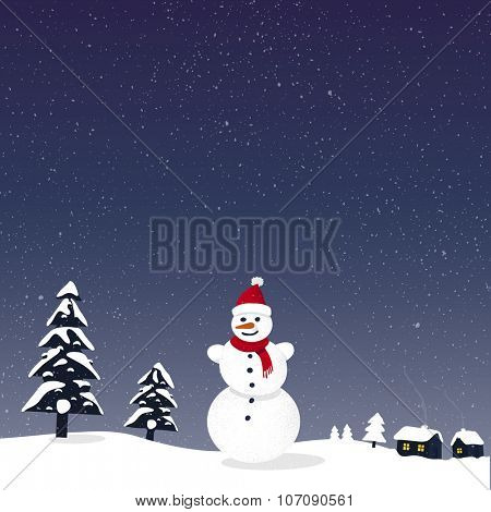 Merry Christmas snowy greeting card with snowman and village houses in background.