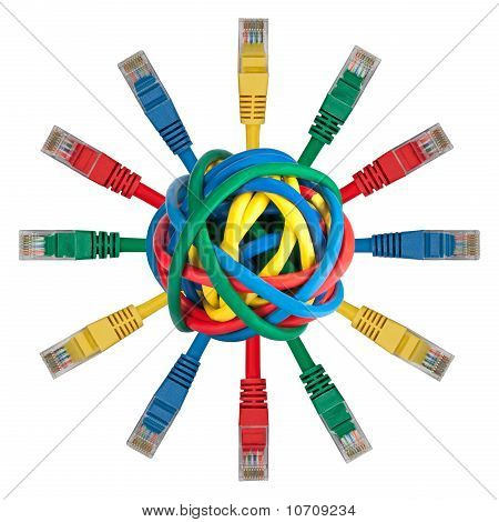 Ball Of Colored Cables With Network Plugs