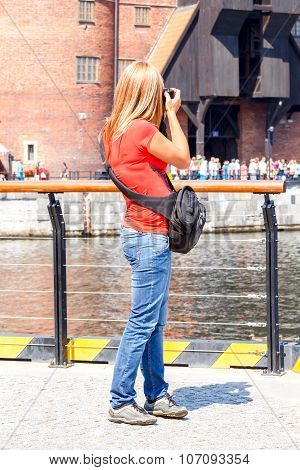 Gdansk. Tourist on the central waterfront.