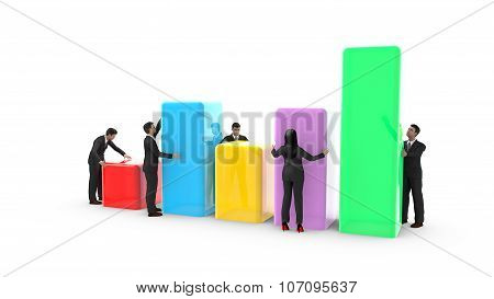 Business men and woman placing bar charts