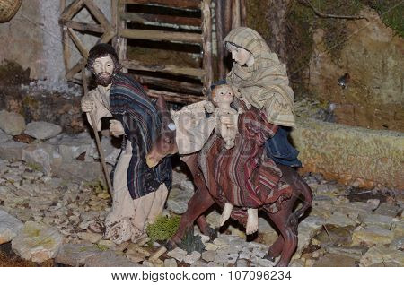 Birth of Jesus in the manger in a typical italian
