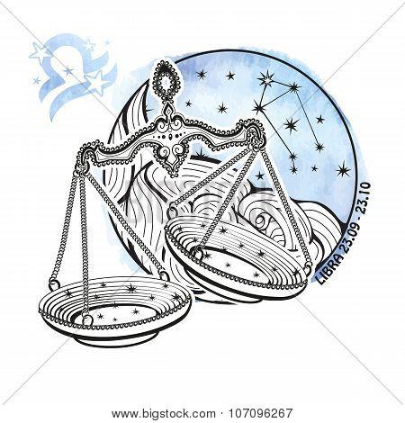 Libra zodiac sign.Horoscope circle.Watercolor splash texture