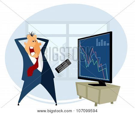 Vector illustration of a broker trading on the stock exchange poster