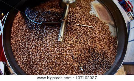 Freshly roasted coffee beans