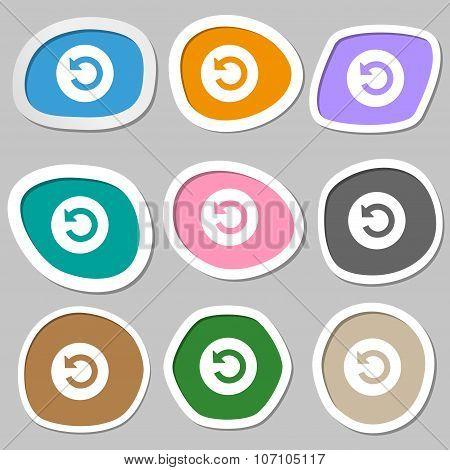 Upgrade, Arrow Icon Sign. Multicolored Paper Stickers. Vector