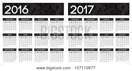 textured black calendar 2016-2017 vector