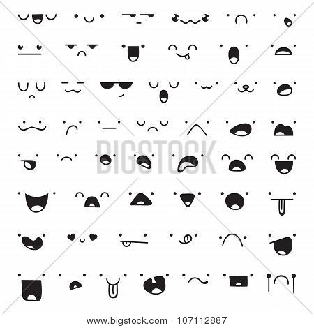 Set of 52 different pieces doddle emotions to create characters