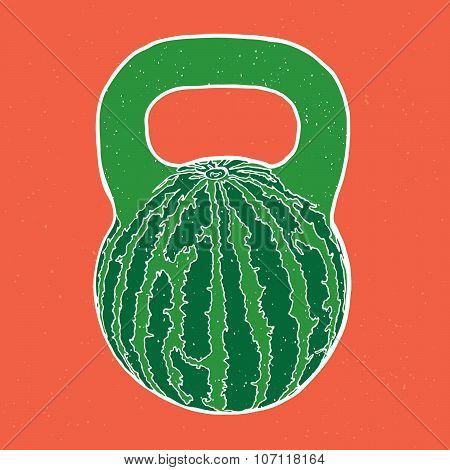 Watermelon kettlebell vector illustration
