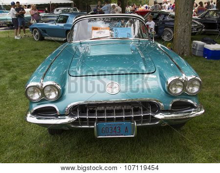 1958 Chevy Corvette Blue White Front View