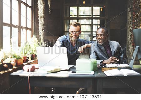 Businessmen Working Determine Workspace Lifestyle Concept
