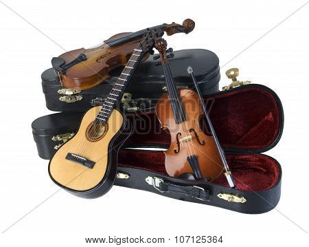 Guitar And Violins With Cases