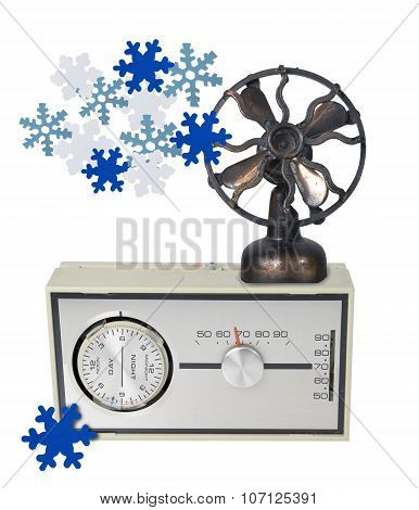 Thermostat Furnace Dial With Fan And Snowflakes