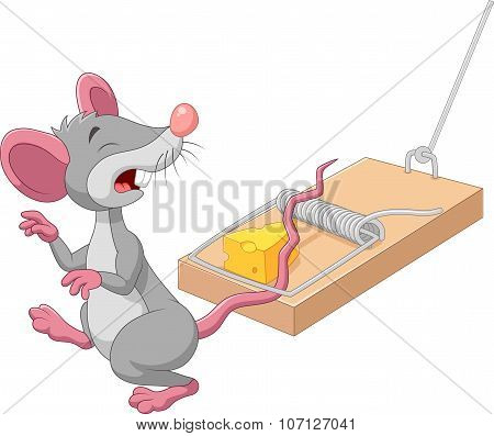 Cartoon mouse in a mousetrap isolated on white background