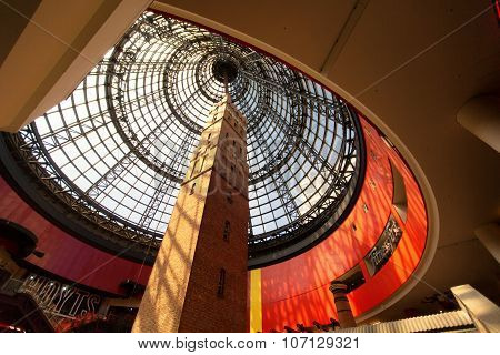MELBOURNE, AUS - FEBRUARY 23, 2015: Melbourne's Shot Tower  at the Melbourne Central shopping centr