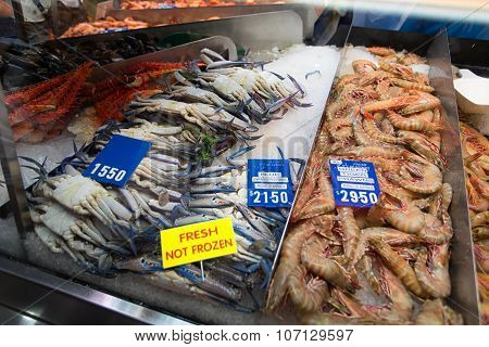 SYDNEY AUSTRALIA - MARCH 19 2015: Prawns on the Sydney Fish Market. 52 tonnes of seafood are selling at auction on this market every day.