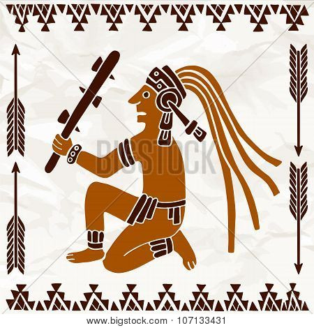 Aztec Of South America Sitting With Truncheon In Brown Colors