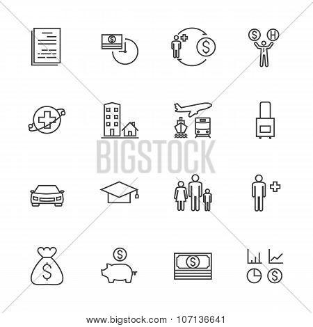 Insurance icon set. Line icons