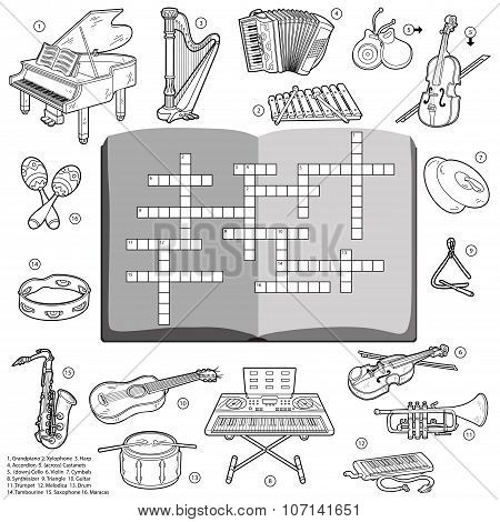 Vector Colorless Crossword, Game For Children About Music Instruments