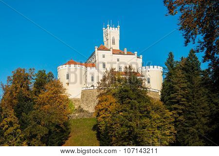 Castle of Trakoscan on the hill in autumn, Zagorje, Croatia