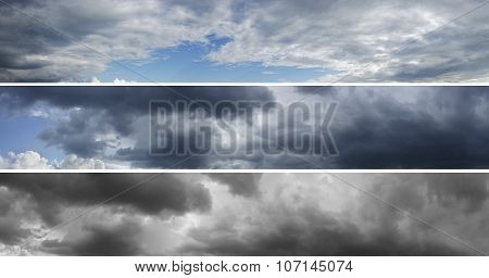 Three panoramas of cloudy sky