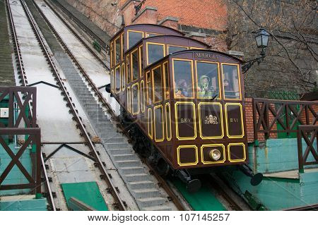 Budapest, Hungary - December 27, 2014: Funicular To Buda Castle In Budapest.
