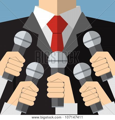 Press conference with media microphones