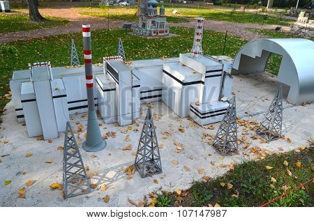 KIEV, UKRAINE - September 23, 2015: Entertaiment Park Ukraine in Miniature (Small scale Ukraine).Chernobyl Nuclear Power Plant