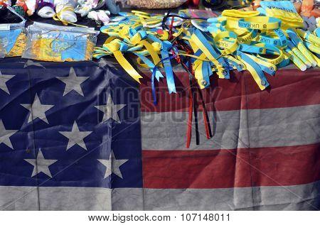 KIEV , UKRAINE - NOV 1, 2015. Flea market in downtown with civil war ,military and ukrainian patriotic items. November 1, 2015 in Kiev, Ukraine