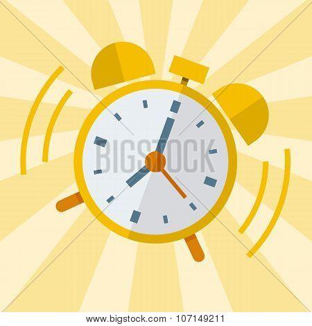 Wake up alarm clock. Vector Flat design poster