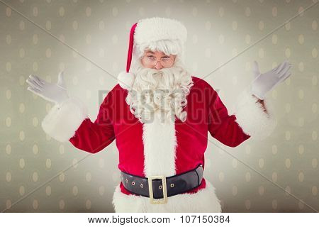 Portrait of perplexed santa against room with wooden floor