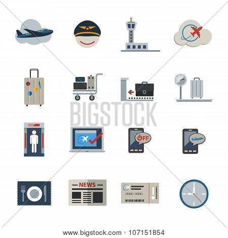 Airport icons set. Flat Icons set for Website and Mobile applications. Vector