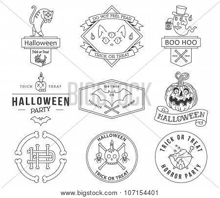 Happy Halloween Badges Black On White