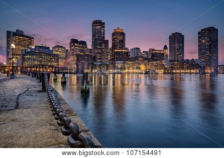 Apartments, offices and Hotels line the waterfront ofBoston Harbor poster