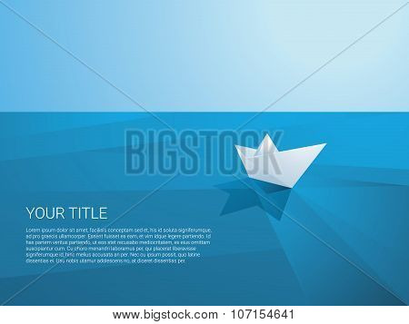 Low poly paper boat sailing away on polygonal sea surface vector background. Origami toy ship as a s