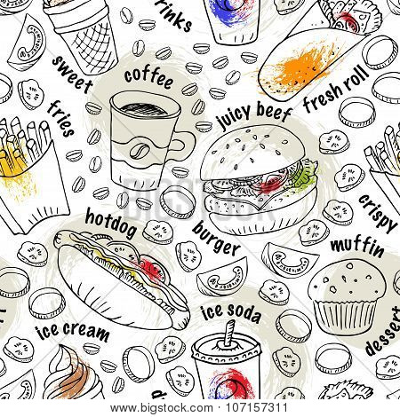 Hand Drawn Doodle Fast Food Seamless Pattern With Paint Splashes