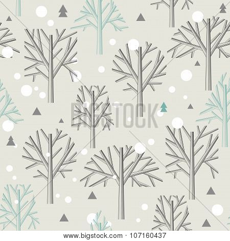 Seamless pattern for Winter forest  and christmas theme. Vector illustration.