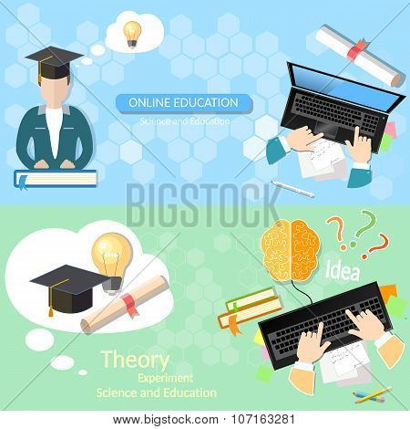 Online education distance tutorials student studying lecturer lessons university college diploma laptop vector banners poster