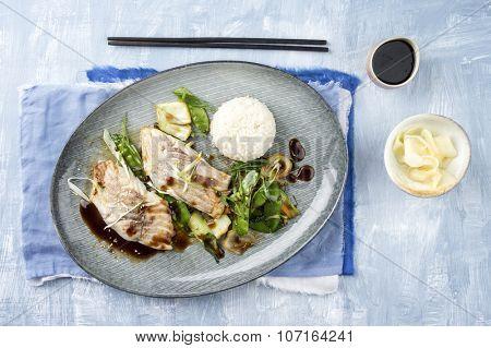 Coalfish Teriyaki with Rice and Vegetable