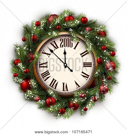 White card with Christmas wreath and clock. Vector illustration.