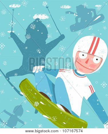 Snowboarding and Skiing Funny Free Rider Jump Fun Poster Design.