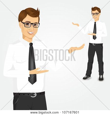 modern young businessman showing something