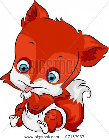 Illustration of a Cute Baby Fox Licking its Paw