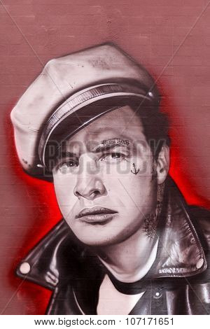 Street art of Marlon Brando painted on a wall