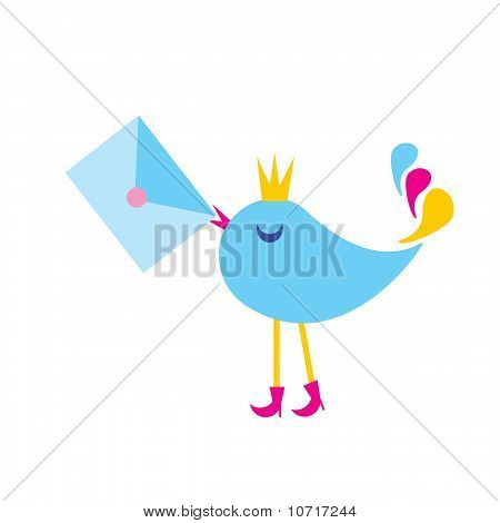 The Illustration Bird With Envelope.